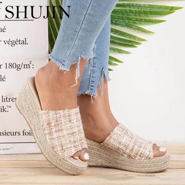 SHUJIN Boucle D'été Femmes Pantoufles Poisson Bouche De Mode Talon Haut Plate-Forme 2019 Toe Ouvert Femmes Sandales Chaussures Zapatos Mujer