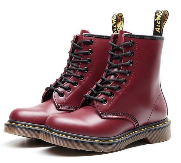 100% de los zapatos del diseñador de los hombres del cuero genuino de las mujeres caliente botas de nieve de invierno Doc Martens zapatos martin Zapatos de Mujer