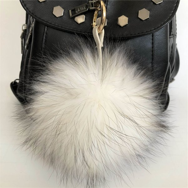 "15cm/6"" Soft Cream White Real Raccoon Fur Pompom Ball Charm Key Chain Keyring Accessories Phone Purse Handbag(Can Accept Custom)"