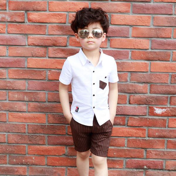 Großhandel 2019 Sommer Neue Jungen Kleidung Sets Kinder Designer Kleidung Jungen Passt Kurzarm Shirt + Shorts Designer Kinder Sets Jungen Kleidung