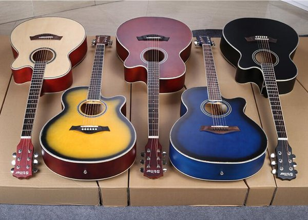 Folk ballasswood guitar beginner students entry guitar 40 inch acoustic guitar boys and girls musical instruments free shipping
