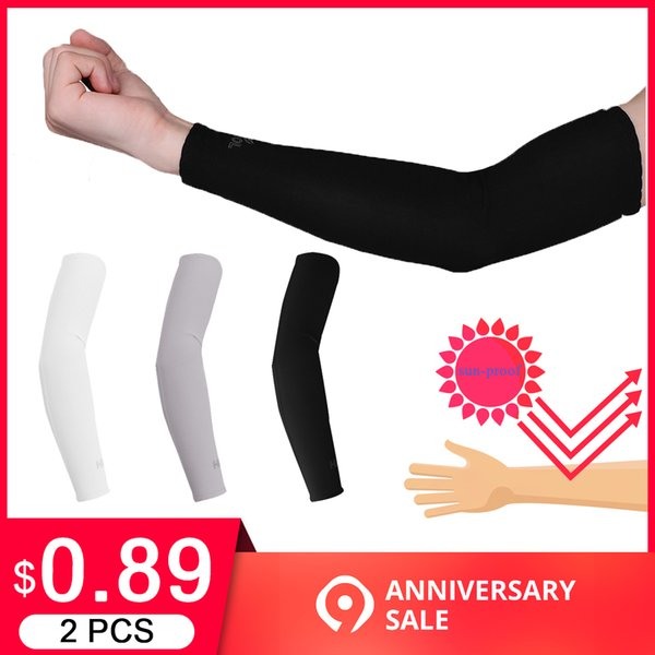 2 Pcs Arm Sleeves Warmers Safety Sleeve Sun UV Protection Sleeves Long Arm Cover Cooling Warmer for Running Golf Cycling Summer