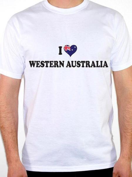 ICH LIEBE WESTERN AUSTRALIA HERZ AUSTRALISCHE FLAGGE Australien Themenorientiertes Herren T-Shirt