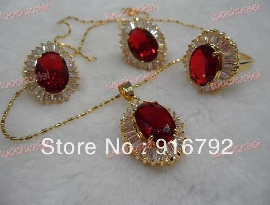 Women Gift word Love real Wholesale Beautiful Red Zircon Gem Inlay Lucky Pendant Necklace Earring Ring Set (B0323) silver dubai