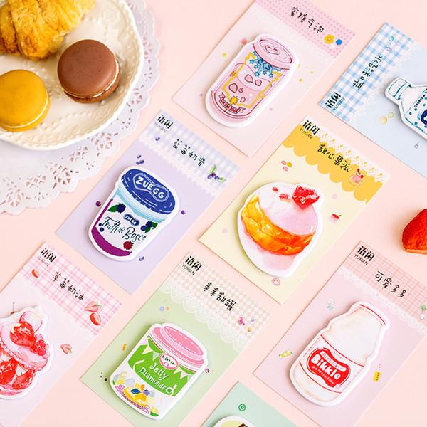 papelería al por mayor 20 Sets Bloc de notas Notas adhesivas Sweet Garden Fruit Drink Notepad Daliy Scrapbooking Stickers Office School Stationery