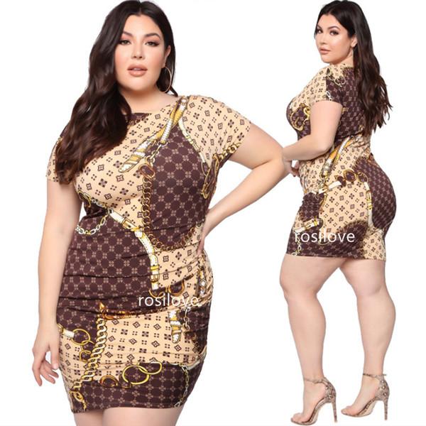 Eté 2019 Robe imprimée chaîne dorée Plus-size Robe sexy Jupe moulante Femme Manches courtes été Robe imprimée col rond