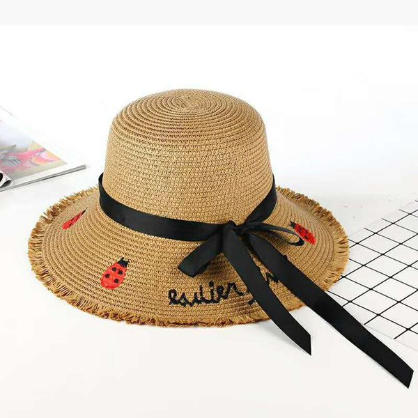 Summer Women Bowknot Cap Fashion Straw Hat Excursion Outdoors Sunscreen Fisherman Hats Designer Buckle Rope ribbon Solid Color