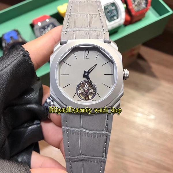 3 Estilo de alta calidad Octo Tourbillon 103016 Gris Tourbillon Dial Japón Miyota automático Reloj para hombre Caja gris Correa de cuero Relojes deportivos