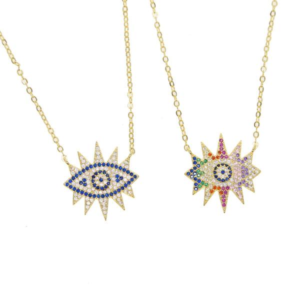 micro pave blue rainbow cz evil eye eyelash Turkish Bohemia fashion jewelry women collar chain eye pendant necklace