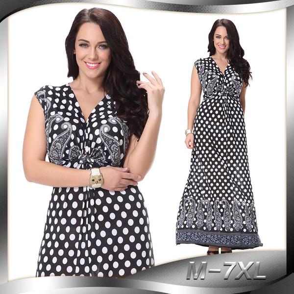 Más el tamaño de puntos de impresión túnica vestido de las mujeres sin mangas de verano elegante tribal estampado de flores vocación vestido largo gasa M-7XL C0520