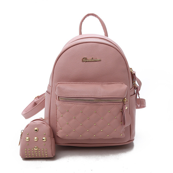 Trends Female Shoulder Bag Fashion Multi Color PU Leather Student School Bags Large Capacity Outdoor Traveling Backpacks Casual Wild Packs