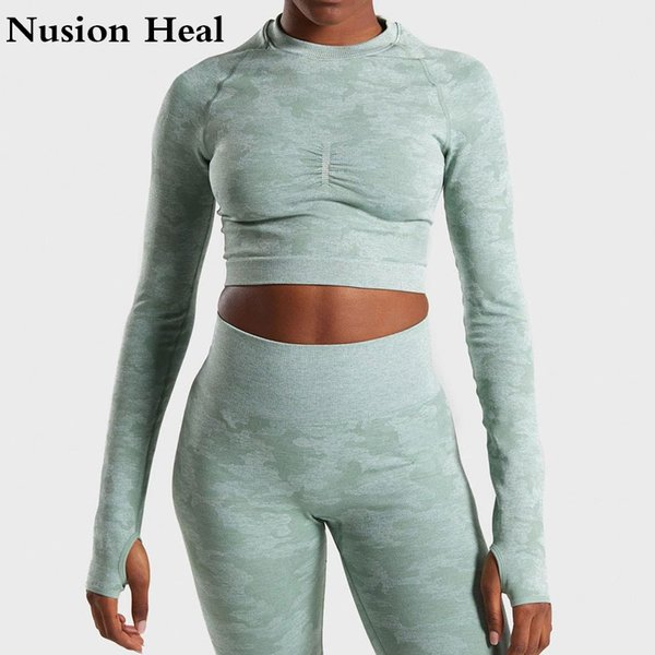 New Women Seamless Sport Tops Yoga Shirts Long Sleeves Tops Energy Yoga Top Fitness Gym Workout Female T-shirts For Women Jersey