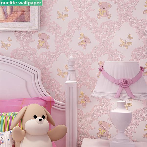 Children S Room Pink Cute Cartoon Bear Butterfly Non Woven Wallpaper Living Room Bedroom Wedding Kindergarten Wall Paper Wallpapers Backgrounds