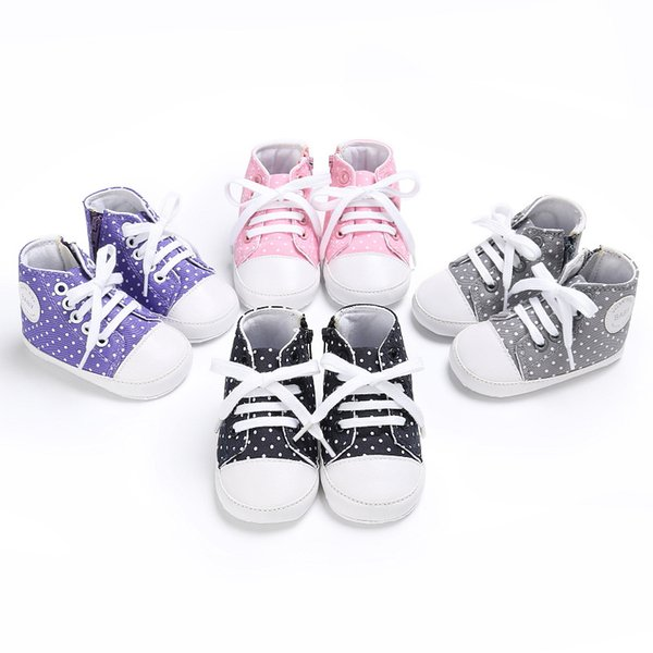 2019 primavera e autunno 0-1 anni ragazzi e ragazze bambino tela punto d'onda scarpe casual bambino bambino
