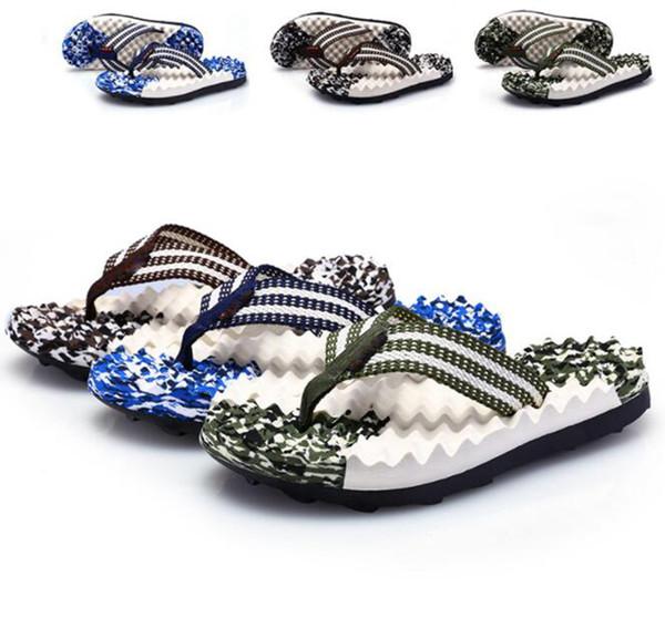 Summer New Sole Massage Camouflage Men's Slippers Beach Shoes Tide Male EVA Flip Flops Men's Mesh Sandals Fashion Casual