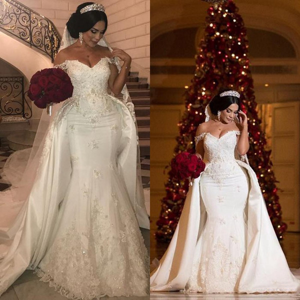 top popular African Elegant Beaded Lace Wedding Dresses With Detachable Train Off Shoulder Mermaid Bridal Gowns Applique Ivory Satin Wedding Dress 2020