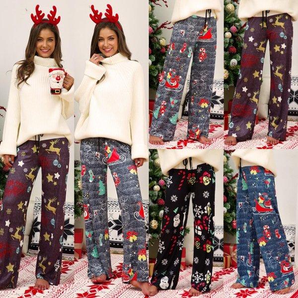 Natal calças perna larga Mulheres Natal impressão Calças retro ocasional meados de cintura Splice Laces Casual bonito roupas calças senhoras lace-up