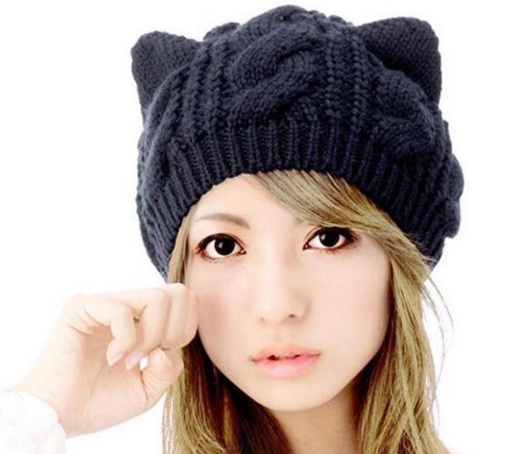 New South chapeau coréen, chapeau béret automne femme, chapeau tricot d'hiver d'hiver, jour chat, bonnet de laine de chat oreille Livraison gratuite L542