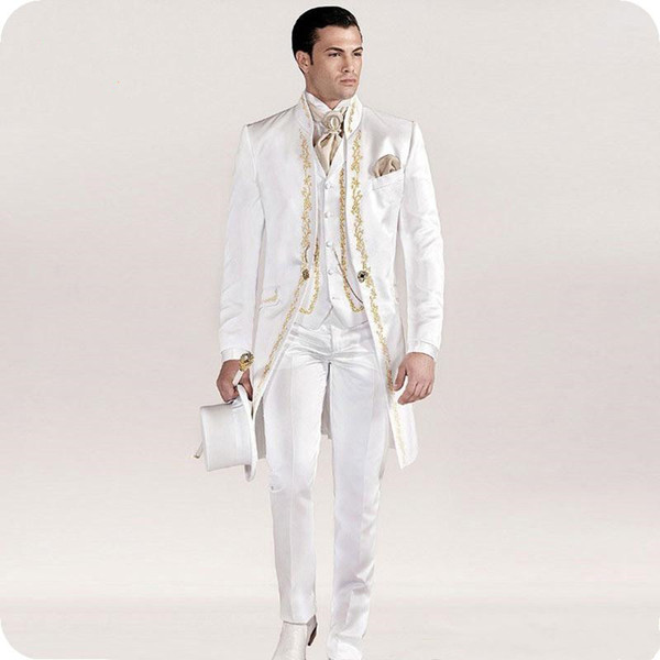 White Italian Tailcoat Mens Wedding Suits Embroidery Vintage Slim Fit Groom Wear Tuxedos Costume Homme Jacket Pants Vest 20