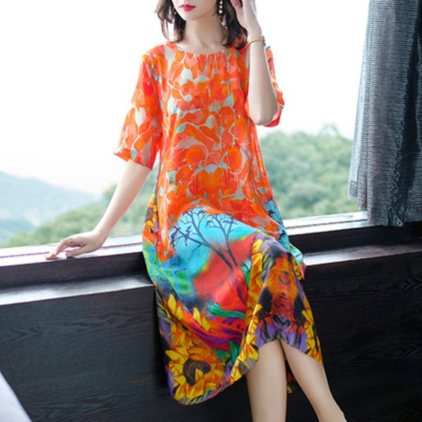 3xl New chiffon silk vintage floral print plus size women elegant long loose summer dress vestidos femininos 2019 dresses