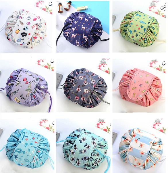 ¡Nuevo! Estampado floral Bolsa de cosméticos Cordón de almacenamiento Bolsa de cosméticos de gran capacidad Bolsa de maquillaje plegable de artefactos 9 colores