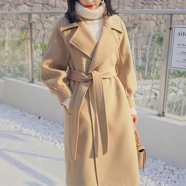 Women Fashion Long Winter Coat Casual Vintage Belt Jackets Blazers Elegant Office Ladies Coat