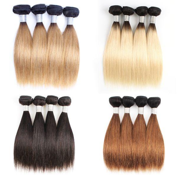 4 пучка индийских пучков человеческих волос 50 г / шт. Прямо темно-коричневый 1B 613 T 1b 27 Ombre Медовая блондинка Короткий стиль Боба
