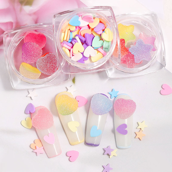 best selling 10pcs 3D Heart Star Nail Art Decorations Gradient Colorful Soft Fudge Designs Sweet Candy DIY Accessories For Nails Manicure