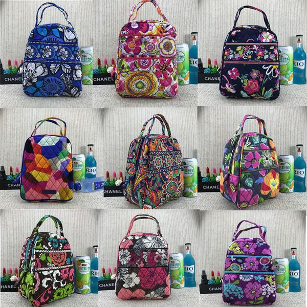 VB Campus Lunch Bag Pastoral Estilo étnico Floral Aislante Cooler Bag Portable Impermeable Picnic Caja de almacenamiento de alimentos de doble capa Tote C72901