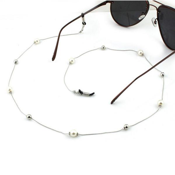 Pérola Frisada Cadeia Óculos Titular Espetáculo Cordão Óculos De Óculos De Sol Corda Colar Branco Pérolas Óculos Titular Colares