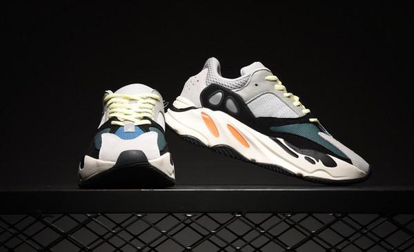 70O V2 Wave Runner 2019 Mauve Sólido Cinza Men Running Shoes Melhor Qualidade Kanye West Sapatos de Grife Esporte Tênis adicionar $ 10 marca meias como presente
