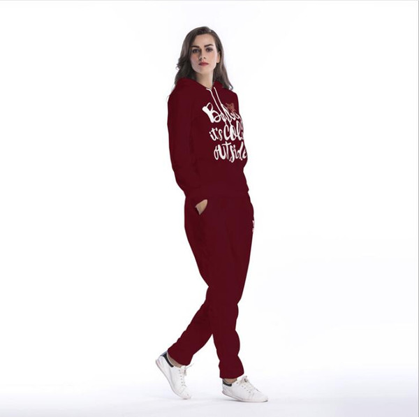 Letters Pullover Hooded Longsleeve Casual Tracksuits for Women Sports With Long Pants Slim Sweat Suit 2pc Set