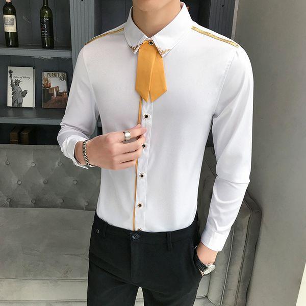 Mens Dress Shirts Detachable Tie Long Sleeve Slim Fit Men Tuxedo Shirts White Black High Quality Casual Evening Clothing Male