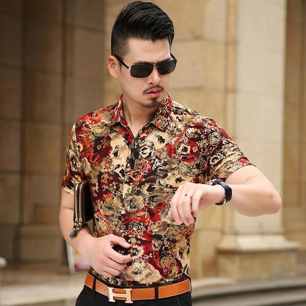 Рубашка с цветочным принтом Мужчины 2017 Новое золото бронзовый с коротким рукавом сорочка Homme Fancy Flower мужские рубашки Camisa Masculina Y19050703