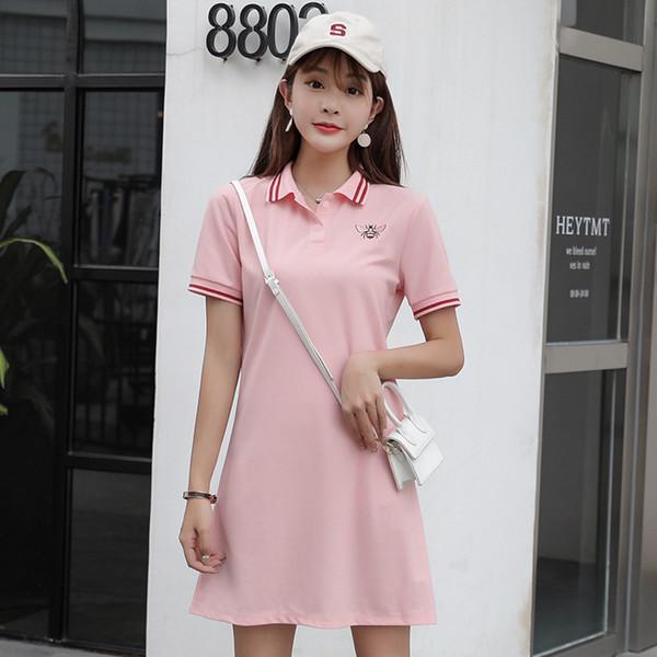Designer Women Dress Brand 2019 Summer New Short-sleeved Straight Polo Collarstyle Luxury Dress Bee Embroidered Skirt Female