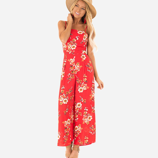 Fashion Designer Womens Jumpsuit New Summer Brand Jumpsuits for Women with Floral Pattern Casual Loose Beach Womens Pants with Criss-Cross