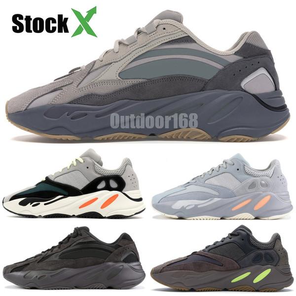 700 Dalga Koşucu Leylak Leydi Atalet Koşu Ayakkabı Kutusu Ile Kanye West Tasarımcı Ayakkabı Erkekler Kadınlar 700 V2 Statik Spor Seankers Boyutu 36-45