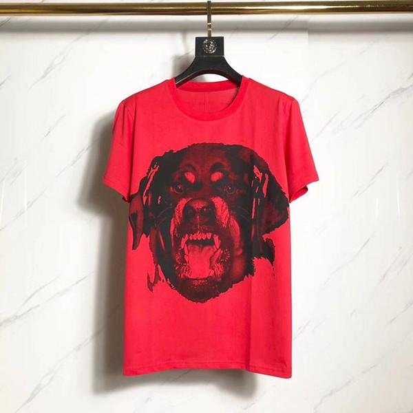 Luxe Rose Chien Imprimé À Manches Courtes Unisexe Rouge Designer T-shirt Hommes Femmes D'été Tees Hommes T-shirts