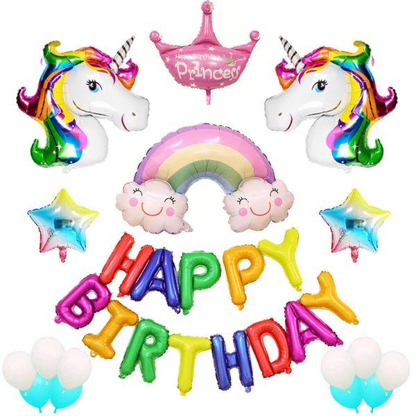 Unicorn Letter Balloon Set Happy Birthday Helium Balloon Holiday DIY Decoration Supplies Floating Aluminum Film Rainbow Balloon