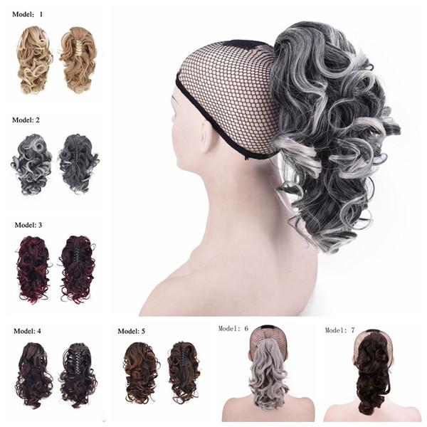 ZhiFan Bayanlar Kızlar Sentetik Saç Ponytails Pençe Midilli Kuyrukları Kadın Kıvırcık Dalgalı Klip Saç Uzantıları Pençe Postiş