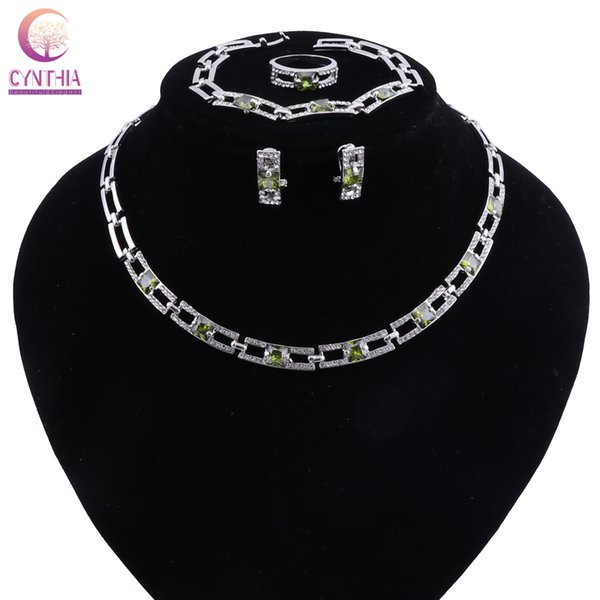 Fashion Necklace Sets For Women Bridesmaid Luxury Crystal Zircon Bridal Wedding Costume Turkish Jewelry
