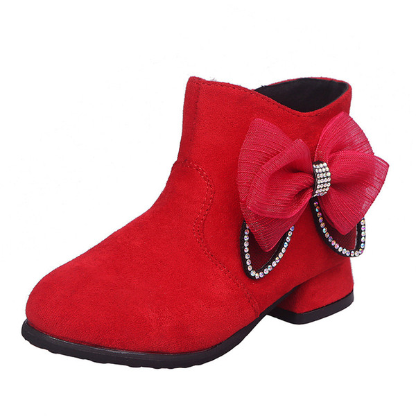 Winter Girls Boots Princess Fur Russia Kids Shoes Leather Snow Boot Plush Warm Fashion Bow Students Children Dress Party Boots