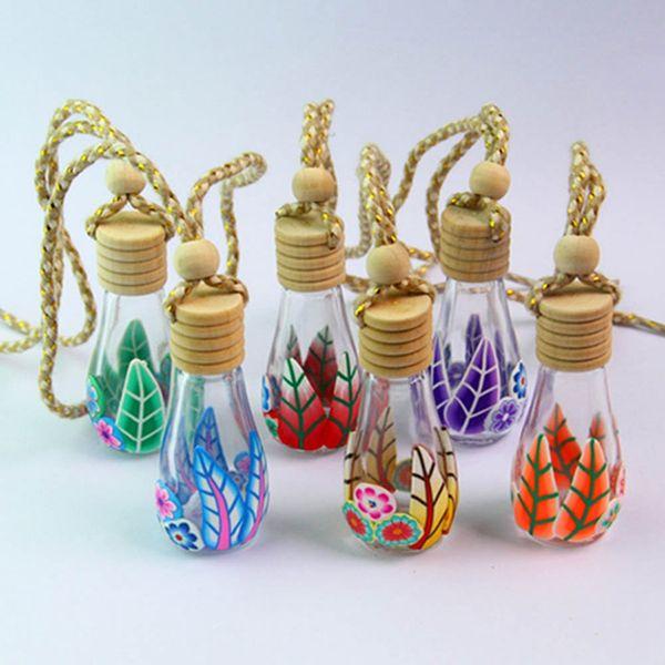 1 stücke Großhandel 12 ml / 15 ml Schöne Auto Hängen Parfüm Anhänger Motor Weiches Wasser Flaschen Ploymer Ton Parfümflaschen