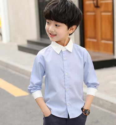 2019 New Summer fashion children Pure color Blue white Splicing V collar T-shirt Cardigan students boy clothes Autumn coat