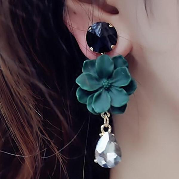 Fashion Multi-couleur Cristal Strass Fleur Dangle Ear Stud Boucles d/'oreilles Bijoux