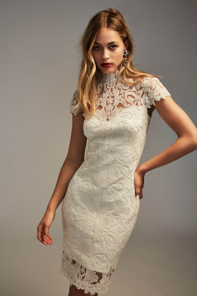 2020 Full Lace High Collar Capped Short Sleeves Prom Dresses Zipper Back Cocktail Party Gowns Knee Length Cheap Dress Bride
