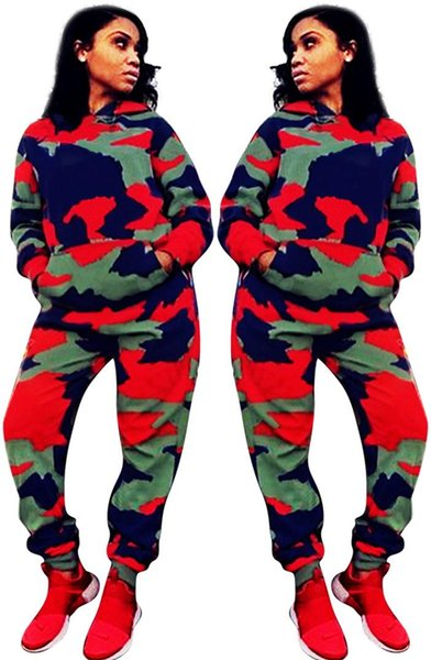 Camo Autumn Winter Ladies Fashion Sets in Street 2 piece Women Suits Camouflage Hooded Full Sleeve Top Pullover And Long Pant