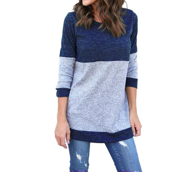 Women Autumn Casual Patchwork Tshirts Long Sleeved Designer Spring New Tops