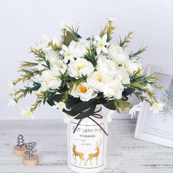 Artificial Peonies Flowers Silk Peony Bouquet for Wedding Decoration Cheap Small Fake Flowers Home Decor DIY