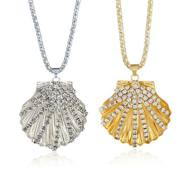 1pc Bohemian Rhinestone Diamante Gold Silver Sea Shell Pendant Necklace Women Cowry Long Chain Jewellery New Trendy wholesale